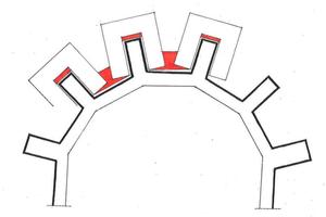 Grundriss eines Sechseck-Chores. Die rot dargestellten Restflächen müssen mit geeigneten und zugelassenen Gerüstbauelementen verschlossen werden