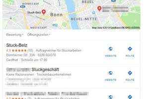 Google My Business: so sieht das Ergebnis aus, wenn man nach den Begriffen Stuckateur und Bonn sucht