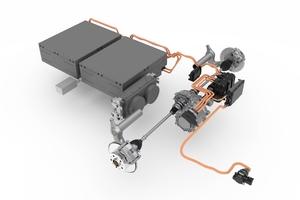 Der E-Antrieb des Hybrid Power Chassis. Mit den entsprechenden Energiespeichern und der intelligenten Steuereinheit können die Fahrzeuge bis zu 100 Kilometer rein elektrisch fahren