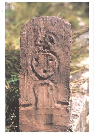 Feierabendziegel mit figürlicher Darstellung in Fingerstrichtechnik, wahrscheinlich aus der Ziegelhütte Horb-Nordstetten