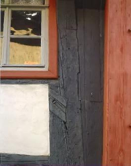 Hochständerhaus in Schmalkalden mit einer Einblattung am Ständer, die in die Epoche der Gotik verweist