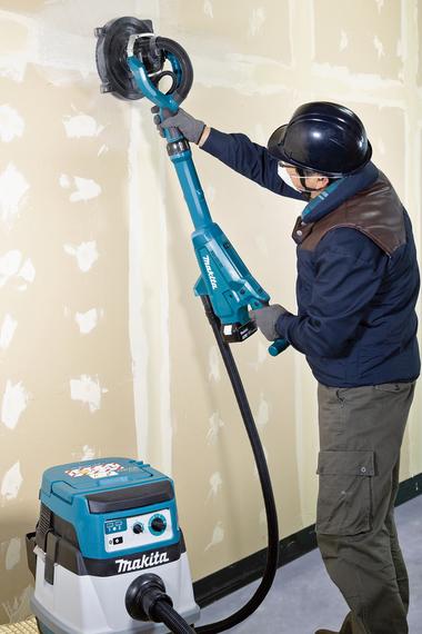 Akku-Langhalsschleifer DSL800 ermöglicht das kabellose Schleifen von Wänden und Decken