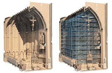 Der Innenraum wurde mangels Bestandsplänen mithilfe von 3D-Laser-Scanning erfasst und in ein 3D-Bauwerksmodell überführt – als Grundlage für die Gerüstplanung mit Peri CAD