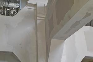 Es galt HEA-Stahlstützen, Stahlträgerunterzüge und Deckendiagonalen sowie diverse L-Stahlträger und I-Träger (bis HEA 1000 mm) zumeist vierseitig zu bekleiden<br />Fotos: Frank P. Bieber e.K. – Ausbausystemtechnik