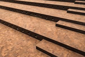 Das Oldenburger Holzpflaster in Fischgrät-verlegung zeigt auch auf den Treppen der Experimenta eine außergewöhnliche Optik