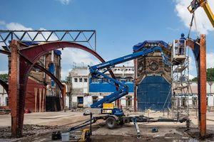 Die Stahlkonstruktion der Halle wurde rückgebaut …