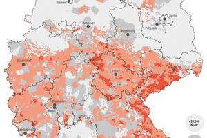 Die Karte zeigt die Radonaktivitätskonzentration in der Bodenluft in Deutschland