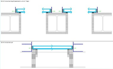 Horizontale Brandschutzverglasungen unter dem Glasboden im Gastraum<br />