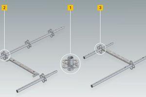 Flexibles Einrüsten nach den speziellen Anforderungen unterschiedlicher Fassadenprojekte. Da Stiele (2) und der offene Rahmen (3) den PERI Gerüstknoten (1) als zentrales Anschlusselement bei identischen Höhenmaße haben, sind sie im vertikalen und horizontalen Aufbau miteinander kombinierbar