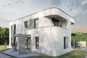 So soll das aus Beton gedruckte Wohnhaus nach Plänen des Büros Mense-Korte ingenieure+architekten nach Fertigstellung im März nächsten Jahres in Beckum aussehen