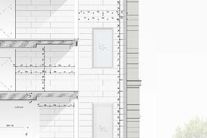 """Fassadenschnitt und Fassadenansicht, Maßstab 1:75<span class=""""bildnachweis"""">Zeichnung: sop architekten</span>"""