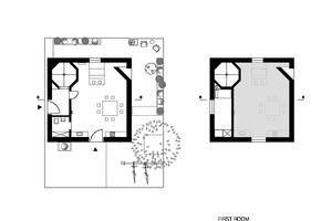 """Grundriss Erdgeschoss, Maßstab 1:200<span class=""""bildnachweis"""">Zeichnungen: Ingrid Maria Buron de Preser</span>"""