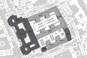 Rechts: Lageplan Hyatt House im Andreas Quartier Düsseldorf<br />Abbildung: slapa oberholz pszczulny | sop architekten