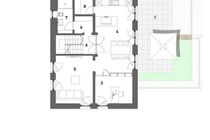"""Grundriss Erdgeschoss, Maßstab 1:200<span class=""""bildnachweis"""">Zeichnungen: KPT Architekten, Kirchmann Patzek Thalmair Architekten Ingenieure</span>"""