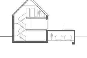 Schnitt, Maßstab 1:200<br />Zeichnung: KPT Architekten, Kirchmann Patzek Thalmair Architekten Ingenieure
