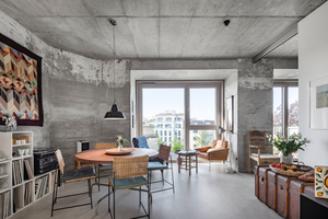 """Die neuen Wände und Decken bestehen aus unverputztem Beton (Sichtbeton B1). So entsteht vor allem dort, wo sich die Eigentümer für ihre Wohnungen auch für einen Zementestrichboden entschieden haben, in Verbindung mit dem Sichtbeton der alten Bunkerwände ein cooler Loftstil<span class=""""bildnachweis"""">Fotos: Roland Borgmann Fotografie</span>"""