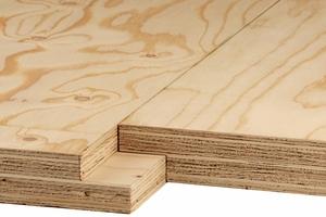 Brüninghoff lagert Kerto LVL ein: Kurzfristig erhältlich sind derzeit Platten in 1,20 x 13 m mit Stufenfalz – in den Stärken 39, 51 und 69 mm<br />