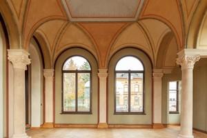 Der große, schon nach der Mitte des 19. Jahrhunderts öffentlich zugängliche Gefolgesaal im Kaiserbahnhof in Halbe nach Abschluss der Restaurierungsarbeiten im vergangenen Jahr