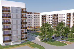 Über 200 Wohnungen schafft die Leipziger Wohnungsbau-Genossenschaft Kontakt e.G. durch die Sanierung eines Gebäudes im Stadtteil Grünau, das 1984 mit der Wohnungsbauserie WBS 70 in Plattenbauweise errichtet wurde