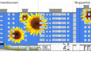 Der Entwurf von Künstler Ulrich Allgaier sah vor, dem tristen Gebäude langfristig eine farbstabile Gestaltung zu geben