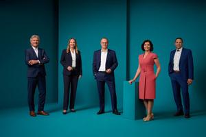 Der Datev-Vorstand (v.l.n.r.): Prof. Dr. Peter Krug, Julia Bangerth, Dr. Robert Mayr, Diana Windmeißer, Prof. Dr. Christian Bär