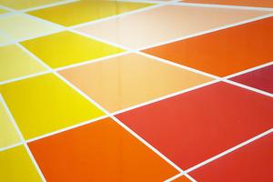 Perspektive, Farbverläufe und geometrische Akkuratesse: Die Wandgestaltung hatte es in sich.