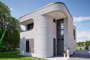Das Mitte dieses Jahres im 3D-Druck aus Beton fertiggestellte Einfamilienwohnhaus in Beckum