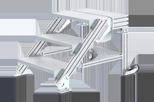 Das kippsichere Treppenpodest 6884 eignet sich zur Bedienung und Wartung von Maschinen und Anlagen.