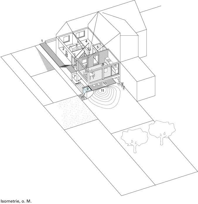 1 Zugang 2 Arbeitszimmer 3 Garderobe 4 Wohnzimmer 5 Dusche Und WC 6 Flur 7 Abstellkammer