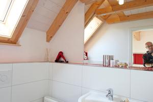 Oben rechts: Ein kleines Dachfenster belüftet und belichtet die Toilette im Dachgeschoss auf der Gebäuderückseite