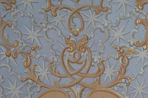 Asamkirche Ausschnitt der Brokatmalerei