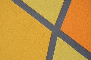 Die Hydrocon-Technologie sorgt dafür, dass die Farben ihre Leuchtkraft auch langfristig bewahren. Das Foto zeigt ein Detail der angedeuteten Netzstruktur, durch das die Turnhalle als Ort sportlicher Aktivität gekennzeichnet istFotos: quick-mix