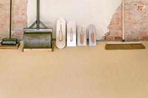 Der 2016 von Peter Breidenbach entwickelte Lehm-Terrazzo gehört zu den spektakulärsten Produkten von ClaytecFoto: Jan Kobel
