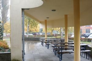 Runde Formen gibt es auch bei der Terrassenüberdachung