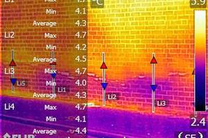 Das Wärmebild hilft dabei nachvollziehen zu können, wie Salze die thermischen Eigenschaften des Mauerwerks beeinflussen und wie sich mit Feuchtigkeit gesättigte Luft auf aufsteigende Feuchtigkeit auswirktFotos: Flir