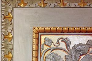 Fertige Rekonstruktion des Ausschnittes einer Freskomalerei aus Florenz mit Öl- und Mordentvergoldung