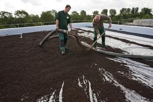Ausbringen des Substrates für das extensiv begrünte Flachdach<br />