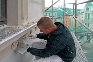 Restaurierungsarbeiten an einer denkmalgeschützten Fassade eines Wohn- und Geschäftshauses in Halle an der SaaleFotos: Malerbetrieb Ahlemann