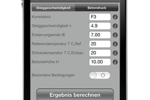 Anwendungsbeispiel: Mit einer speziellen Handwerker-App lassen sich Betoniergeschwindigkeit und Betonierdruck kalkulieren und ein druckfähiges Angebot im Pdf-Format erstellen<br />Foto: Smart Mobile Factory<br /><br />