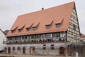 """""""Haus Belz"""": Der restaurierte Giebel wurden einen Winter lang bewittert, um die Eignung der Verfahren zu testen"""