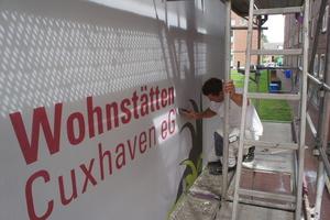 Beste Werbung: Der Schriftzug der Wohnstätten Cuxhaven eG darf nicht fehlen