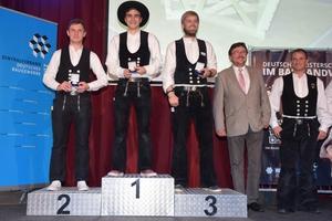Auf den Siegerpodest stehen bei den Zimmerern Mario Bernardi (Gold), Markus Bauer (Silber) und Björn-Hendrik Vogt (Bronze)