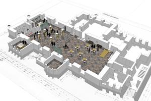 3D-Ansicht der Rathaushalle des Alten Rathaus in Einbeck. Sie soll zukünftig durch einen Aufzug ergänzt werden ⇥Grafik: SHH Architekten