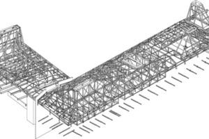 Axonometrie Dachtragwerk, ohne Maßstab<br />