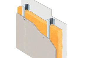 Schematischer Aufbau einer einfach mit ze-mentgebundenen Bauplatten beplankten Leichtbauwand<br />