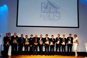 Die Preisträger auf der Bühne während der Gala am 19. Februar in Potsdam<br />