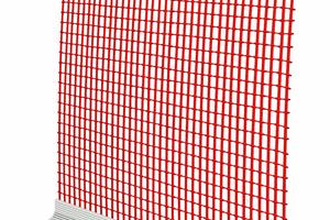 4 Anputzleiste mit Gewebe: selbstklebendes Kunststoffprofil mit Dichtband und Gewebe