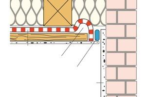 Das Schema zeigt die Herstellung der luftdichten Schicht an verputztem Mauerwerk mit einer dauerhaft elastischen, selbstklebenden Masse <br />