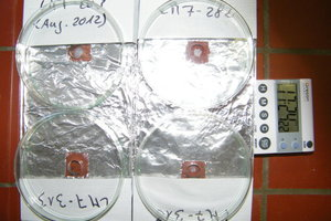 &nbsp;Versuchsanordnung für die überprüfung von Zerfallszeiten und Wirksamkeit auf Ziegelstein<br />