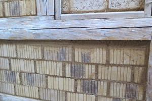 Ausmauerung Fachwerk mit Lehmsteinen<br />